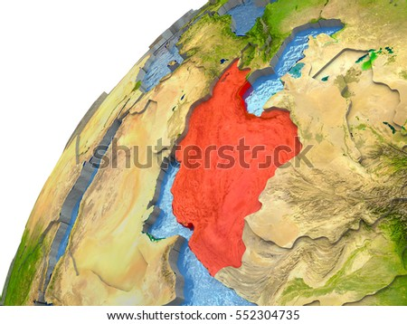 Iran highlighted in red with surrounding region. 3D illustration with highly detailed realistic planet surface and reflective ocean waters. Elements of this image furnished by NASA.