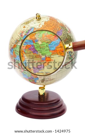 Iran iraq afghanistan on globe under stock photo royalty free iran iraq and afghanistan on the globe under a magnifier gumiabroncs Image collections