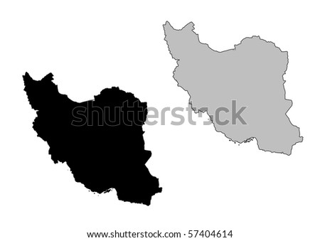 Iran map. Black and white. Mercator projection. - stock photo