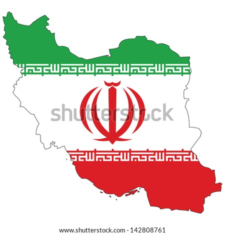 Iran map with the flag inside.  - stock photo