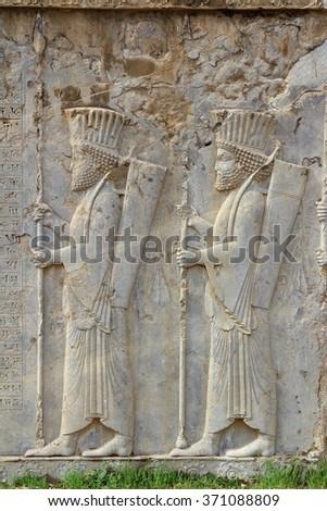 IRAN Persepolis: Soldiers - stock photo