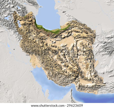 iran shaded relief map surrounding territory greyed out colored according to vegetation