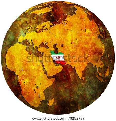 iran territory with flag on map of globe - stock photo