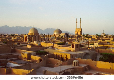 Iranian ancient city Yazd - stock photo