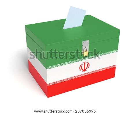 Iranian Flag Ballot Box. Isolated white background. 3D Rendering. - stock photo