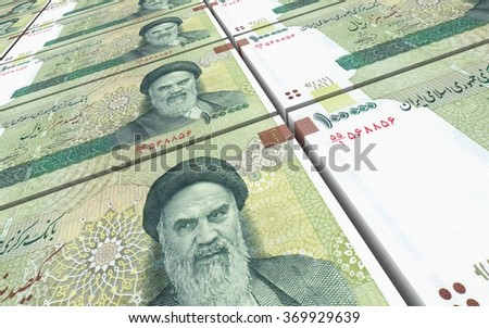 Iranian rials bills stacked background. Computer generated 3D photo rendering. - stock photo