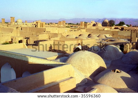 Iranian town Yazd - stock photo