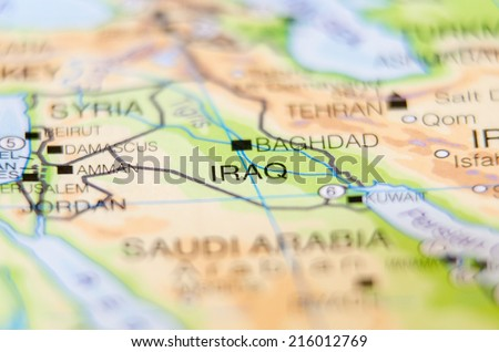 iraq country on map - stock photo