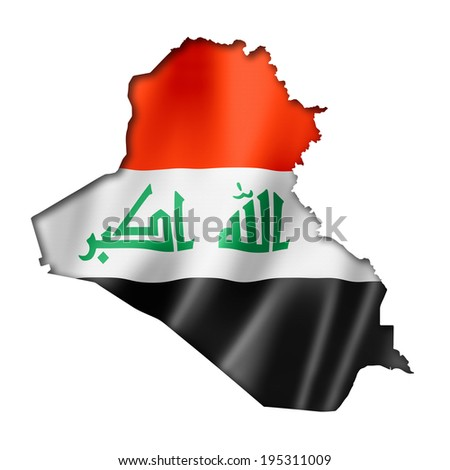 Iraq flag map, three dimensional render, isolated on white - stock photo