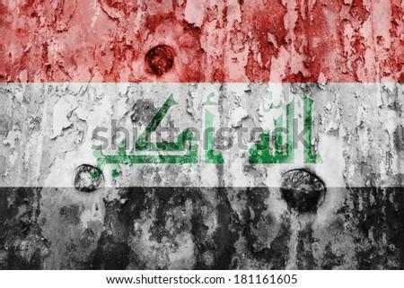 Iraq flag on a weathered grunge background - stock photo