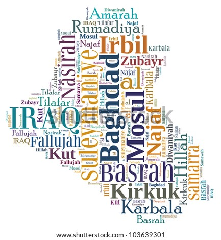 Iraq map and words cloud with larger cities