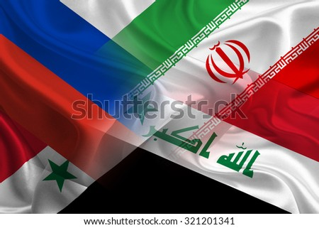 Iraq, Russia, Syria, and Iran unionize to fight against ISIS (also known as IS and ISIL) - stock photo