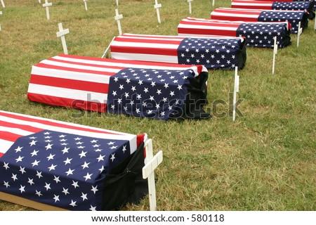 Iraq War Protest Coffins - stock photo