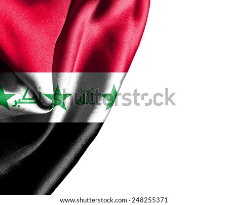Iraq waving silky flag isolated on white background - stock photo