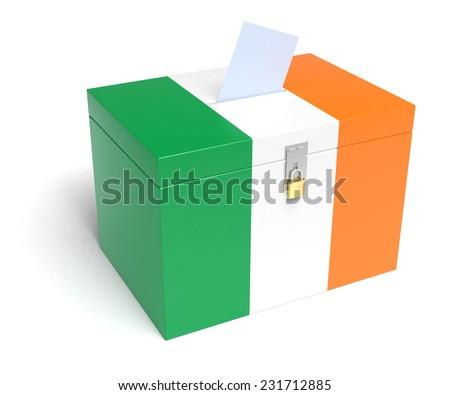 Ireland ballot box with Irish Flag. Isolated on white background. - stock photo