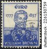IRELAND - CIRCA 1957: A stamp printed in Ireland Republic shows William Brown - Irish-born Argentine Admiral, circa 1957 - stock photo