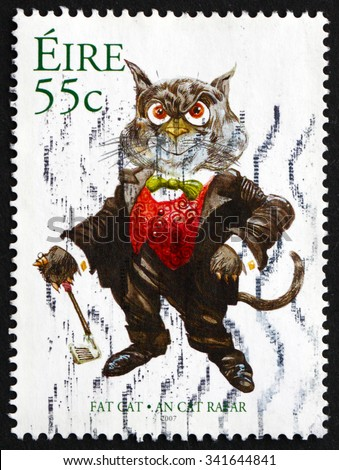 IRELAND - CIRCA 2007: A stamp printed in Ireland shows Fat Cat, Cat Caricature by Martyn Turner, circa 2007