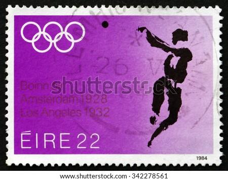 IRELAND - CIRCA 1984: A stamp printed in Ireland shows Hammer Throw, 1984 Summer Olympics, Los Angeles, circa 1984 - stock photo
