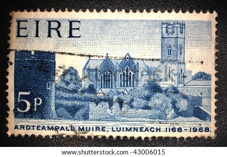 IRELAND - CIRCA 1968: A stamp printed in Ireland shows image of Ardteampall Muirce in Luimneach, circa 1968
