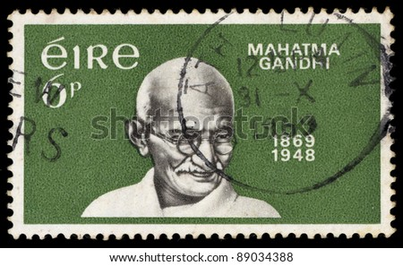 IRELAND - CIRCA 1969 : A stamp printed in Ireland shows Mahatma Gandhi, circa 1969 - stock photo