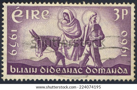 IRELAND - CIRCA 1960: A stamp printed in Ireland shows the World Refugee stamp, circa 1960 - stock photo
