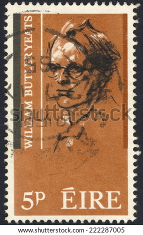 IRELAND - CIRCA 1965 : A stamp printed in Ireland shows William Butler Yeats - Irish poet and playwright (1865-1939), circa 1965. - stock photo
