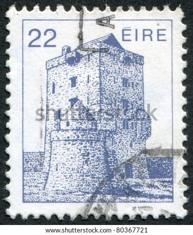 IRELAND - CIRCA 1982: A stamp printed in the Ireland shows Aughnanure Castle, Oughterard, circa 1982 - stock photo