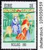 IRELAND - CIRCA 1993: a stamp printed in the Ireland shows Flight into Egypt, Christmas, circa 1993 - stock photo