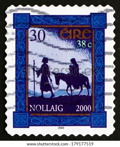 IRELAND - CIRCA 2000: a stamp printed in the Ireland shows Flight to Egypt, Christmas, circa 2000 - stock photo