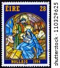 IRELAND - CIRCA 1994: a stamp printed in the Ireland shows Nativity, Stained Glass Nativity Scene, Christmas, circa 1994 - stock photo