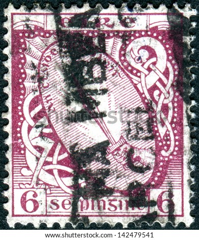 IRELAND - CIRCA 1923: Postage stamp printed in Ireland shows the Sword of Light, circa 1923