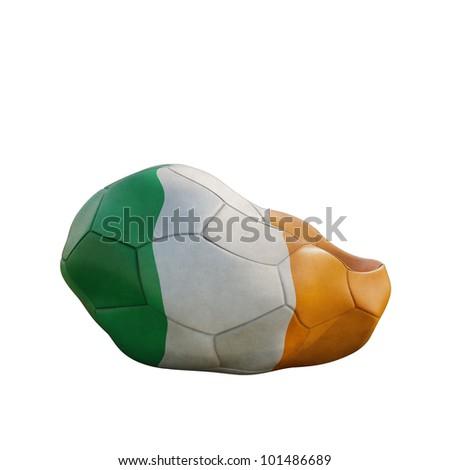 ireland deflated soccer ball isolated on white - stock photo