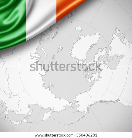 Ireland flag of silk with copyspace for your text or images and world map background -3D illustration