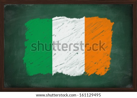Ireland flag painted with color chalk on old blackboard