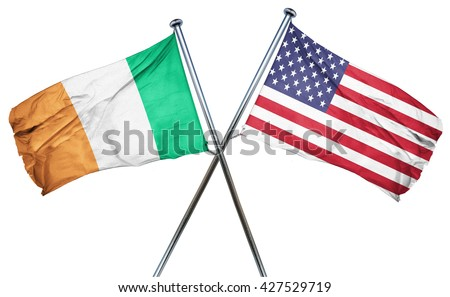 Ireland flag with american flag, isolated on white background - stock photo