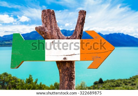 Ireland flag wooden sign with lake background - stock photo