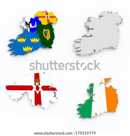 ireland flags on 3d maps - stock photo