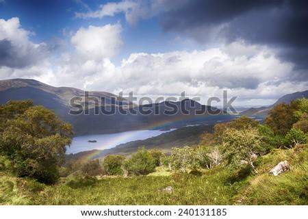 Ireland landscape with hills  - stock photo