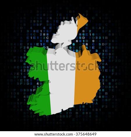 Ireland map flag on hex code illustration - stock photo
