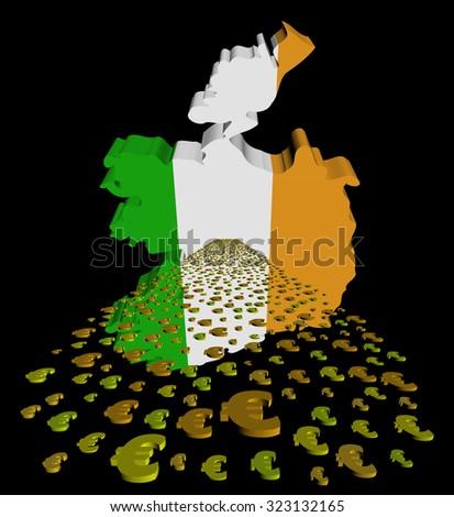 Ireland map flag with euros foreground illustration - stock photo