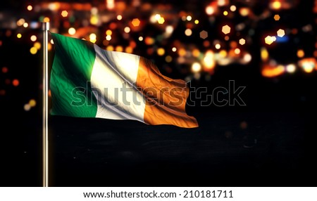 Ireland National Flag City Light Night Bokeh Background 3D - stock photo