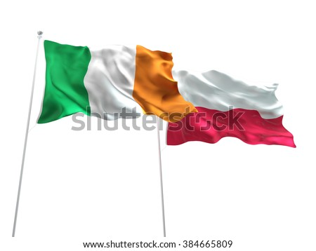 Ireland & Poland Flags are waving on the isolated white background