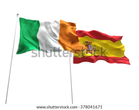 Ireland & Spain Flags are waving on the isolated white background