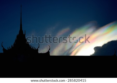 Iridescent pileus cloud / Rainbow clouds  - stock photo
