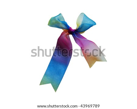 iridescent ribbon is fastened on a small knot