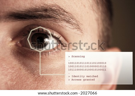 Iris scan security system additional text stock photo