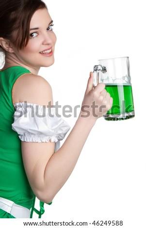 Irish Beer Girl - stock photo