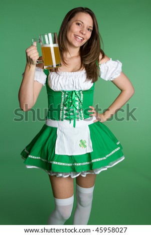 Irish Beer Woman - stock photo