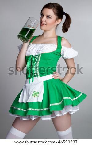 Irish Beer Woman - stock photo