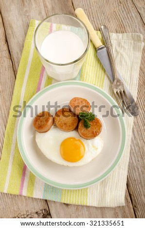 irish breakfast with white pudding, fried egg and glass milk
